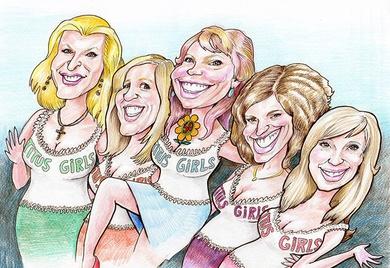 Grupo de 5 amigas muy unidas para el aniversario de una de ellas