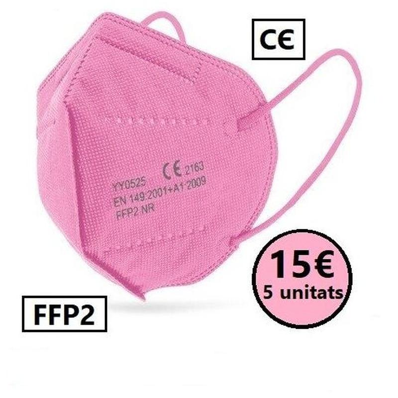 Paquet 5 unitats de mascaretes FFP2 color rosa: PRODUCTES EN ESTOC  de Farmacia Rosa Cinca | Guissona | 365 | 8.30-21