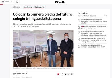 Colocan la primera piedra del futuro Colegio Trilingüe de Estepona