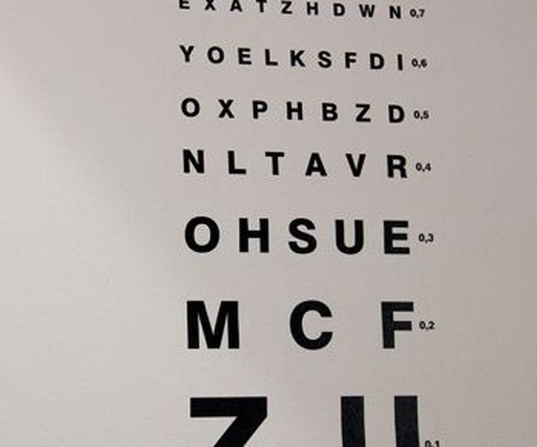 La revisión de la vista para obtener el carnet