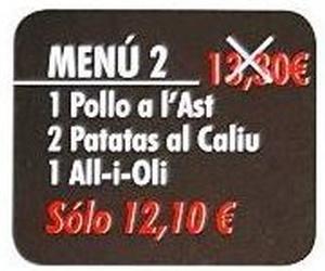 Oferta menú 2 Viernes y Sábados no festivos