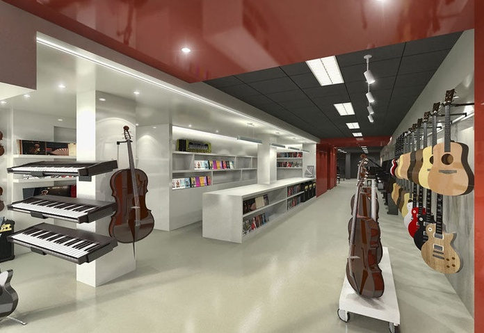 Diseño de local comercial para tienda instrumentos musicales en Barcelona