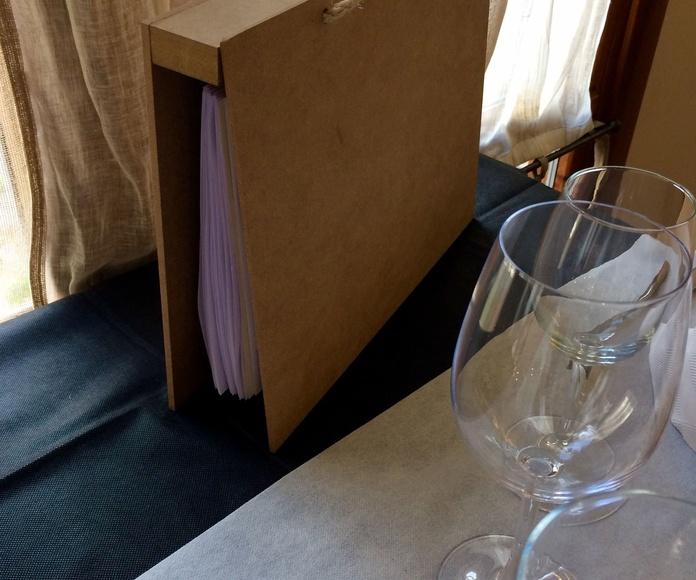 Carta de vinos.
