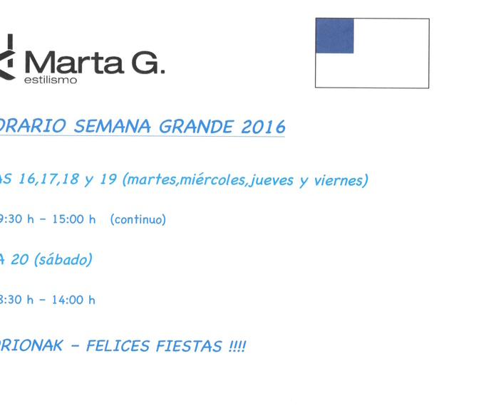 HORARIO SEMANA GRANDE 2016