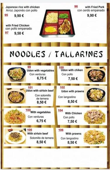 Noodles / Tallarines: Carta y menú de Restaurante Teppanyaki Kazuki