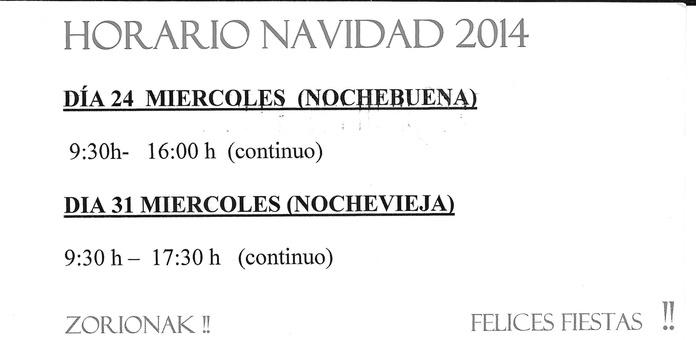 HORARIOS NAVIDAD 2014