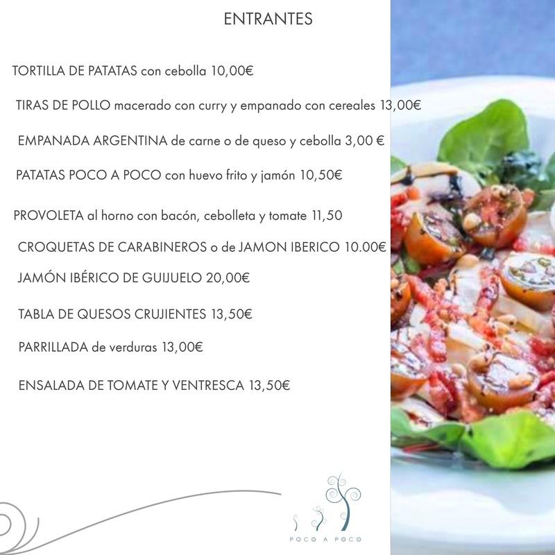 Nuestra carta: Servicios de Restaurante Poco a Poco