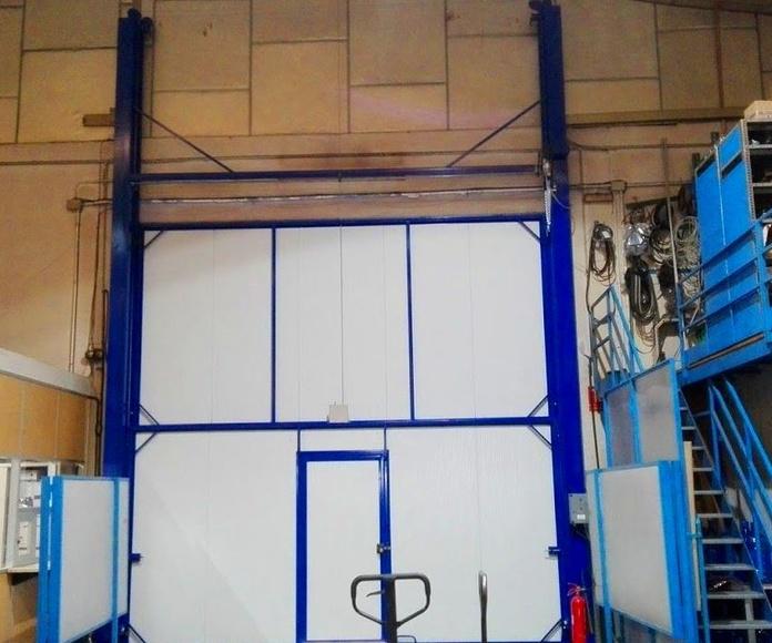 Puerta automática de guillotina industrial de panel