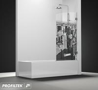 Mampara de baño Profiltek serie Newglass modelo NG-101 decoración Cosmopolita