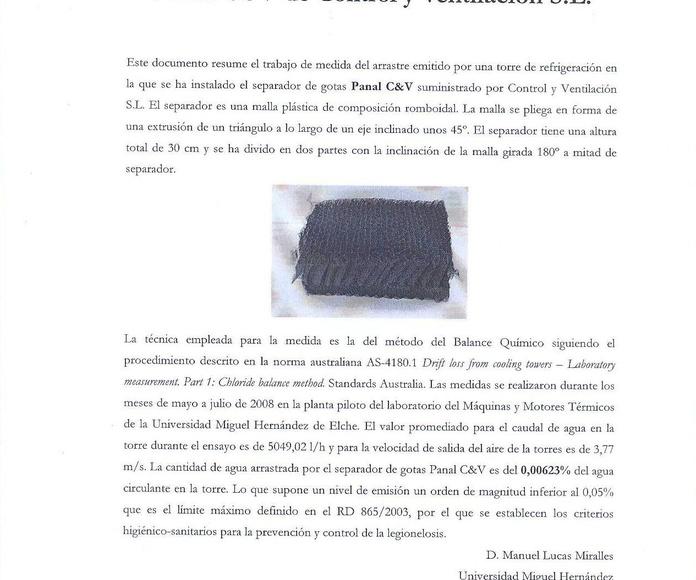 Certificado eficiencia del Panal C&V por la U.M.H.