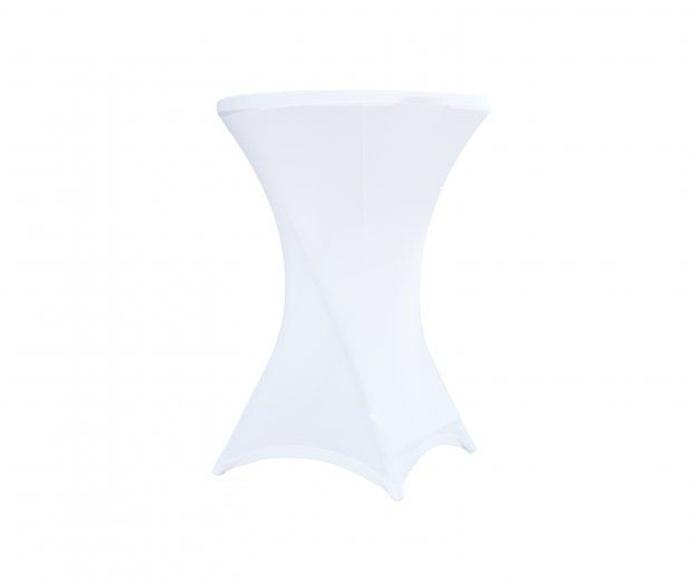 Funda blanca elástica para mesa alta: Alquiler de Mantelería & Menaje