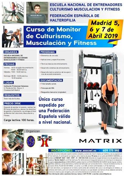 Curso de Monitor de Culturismo Musculación y Fitness: Cursos de Escuela Nacional de Entrenadores de Culturismo, Musculación y Fitness                                         (Federación Española de Halterofilia)