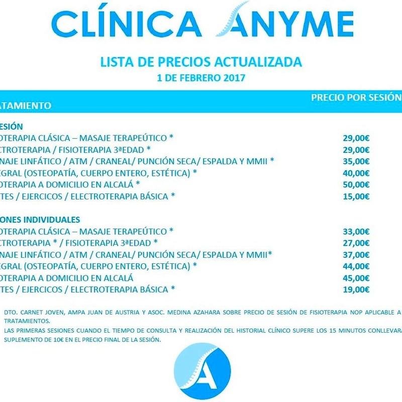 Todos los tratamientos y precios: Tratamientos y precios de Clínica Anyme