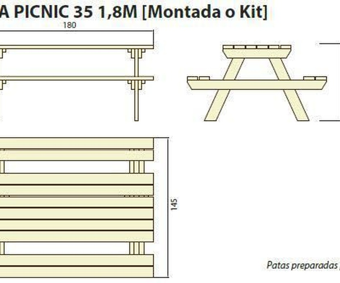 Mesa picnic 35 1.8 m: ¿Qué podemos ofrecerte? de CM PLASTIK RECYCLING SL