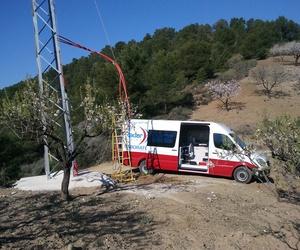 """Ensayo de Descargas Parciales de línea de interconexión de las líneas """"Barranco y Torrecillas"""", en Lorca (Murcia)"""