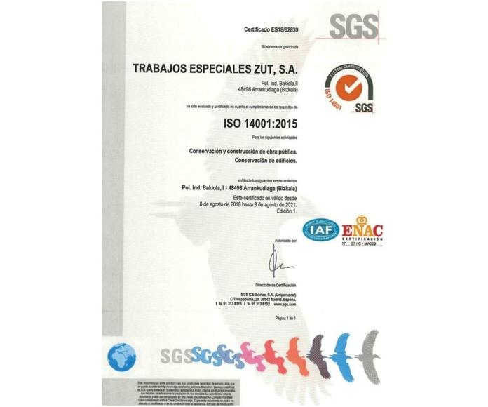 Certificación ISO 14001:2015. Medio ambiente y prevención de riesgos: Servicios de Trabajos Especiales ZUT