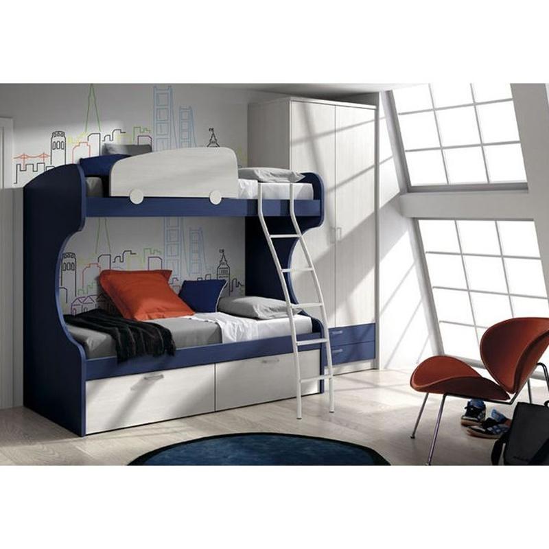 Literas 2 camas con cajones azul cobalto y blanco. Una imagen de limpieza en la ha