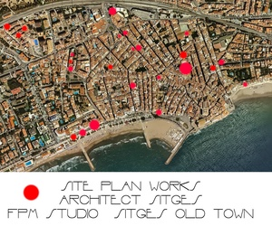 Site View of works at Old Town in  Sitges by architect Sitges. Studio FPM