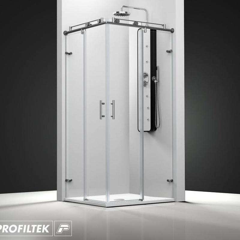 Mampara de baño Profiltek corredera serie Steel modelo ST-220 Classic
