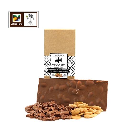 chocolate artesano con leche, almendra y sin azúcar