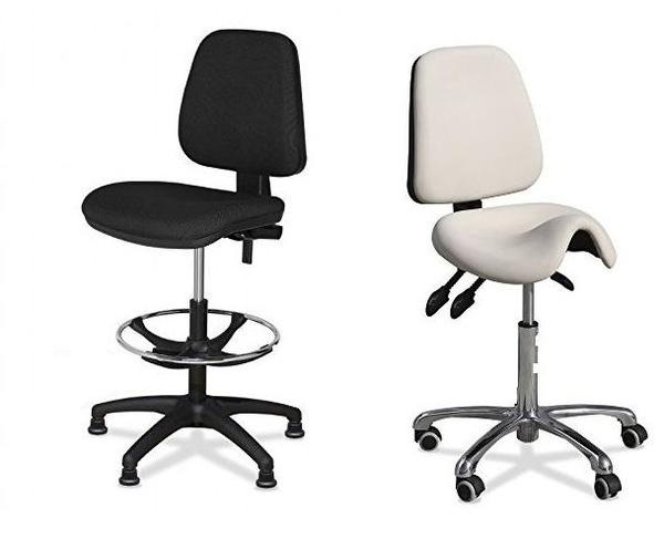 taburete ergonomico con mecansimo de 3 palancas en blanco o negro