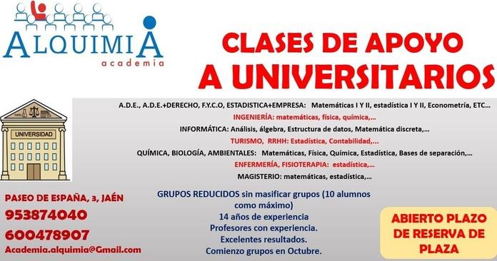 CLASES APOYO PARA UNIVERSITARIOS: NUESTRA OFERTA FORMATIVA de Alquimia