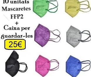 10 unitats de mascaretes FFP2 colors + caixa per guardar-les