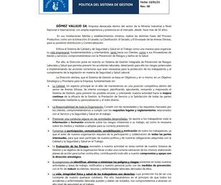Política del Sistema de Gestión Gómez Vallejo SA