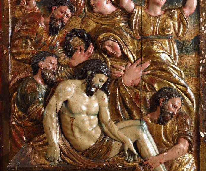 """""""Santo entierro"""" relieve de madera tallada: Catálogo de Goya Subastas"""