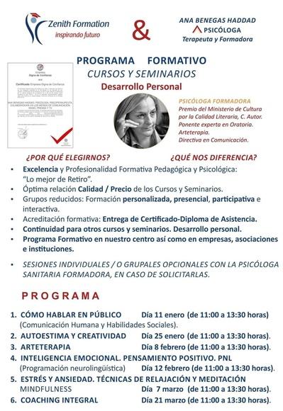 Cursos: TRATAMIENTOS.Cursos servicios. de Ana Benegas Haddad - PSICÓLOGA