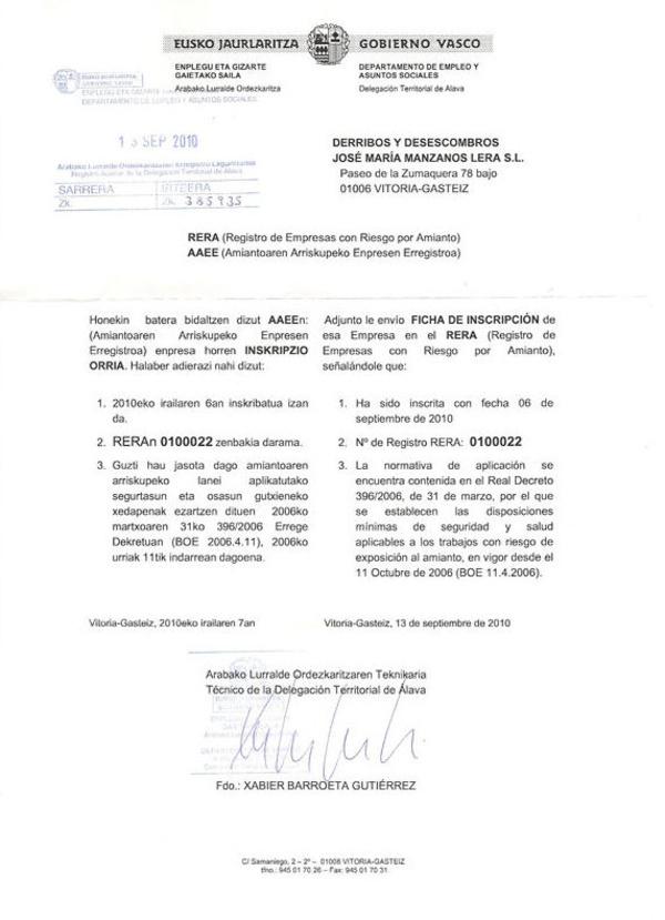 Normativa: Catálogo de DERRIBOS  Y DESESCOMBROS