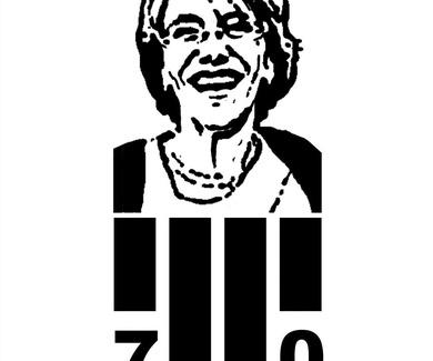 Logo 70 aniversario de una conocida actriz de teatro