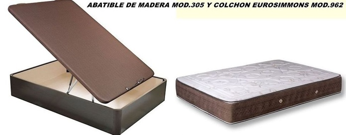 ABATIBLE DE MADERA MOD.305 Y COLCHON EUROSIMMONS MOD.962