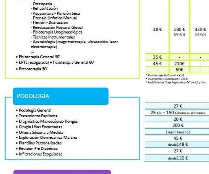 Precios clínica Nupofis 1