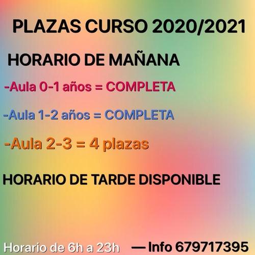 PLAZAS CURSO 2020/2021