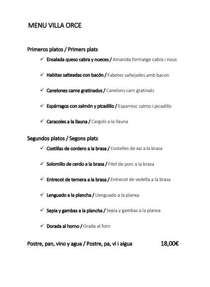 Menú fin de semana: Servicios de Restaurant Masía Villa Orce