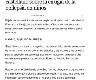 Décimo libro aparece en distintas páginas web: Especialidades y publicaciones de Doctor Villarejo