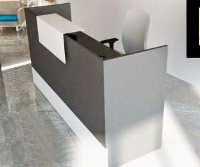 mostrador economico de recepcion en color grafito y chapa blanca