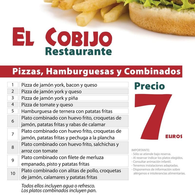Platos combinados, pizzas y hamburguesas: Amplia carta de Restaurante El Cobijo