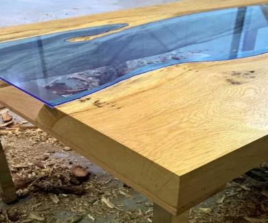 Como hacer una mesa de rio con maderas y EPOXI 3D