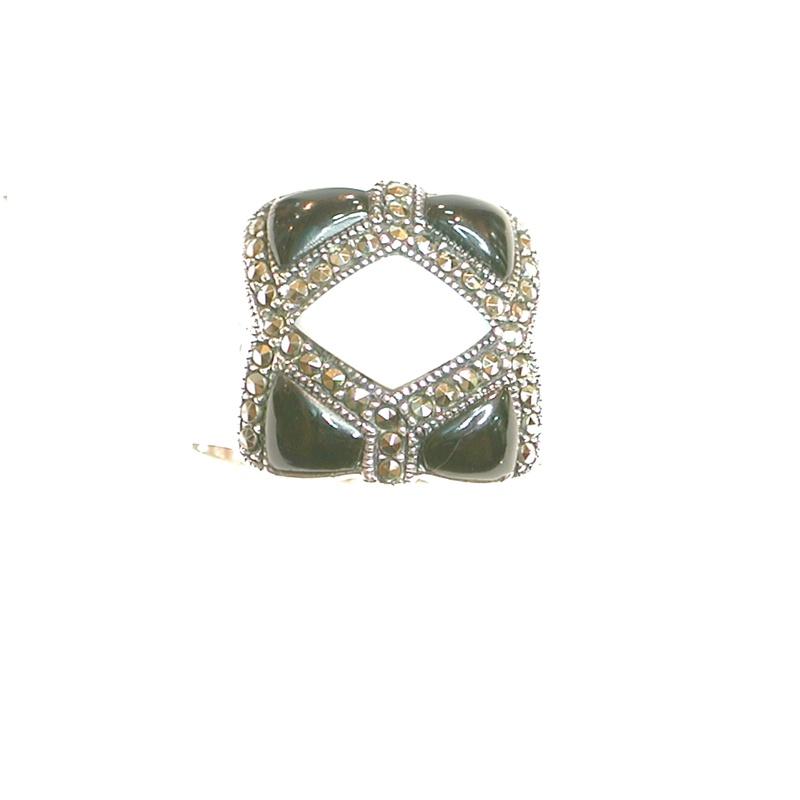 Sortija Cuadrada de Plata 1º Ley Ónix y  Nácar. Ref. MS-6608/38: Catálogo de Antigua Joyeros