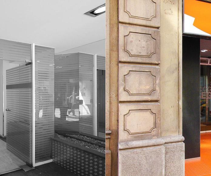 Diseño de recepción para local comercial de inmobiliaria en Barcelona.