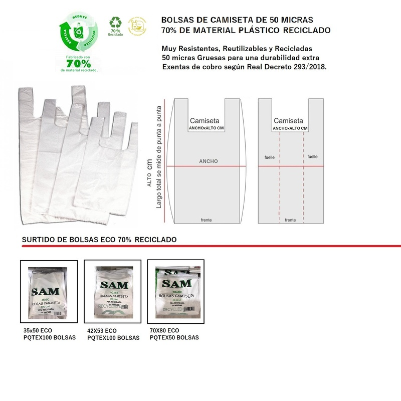 PQTE DE BOLSAS DE ASA TIPO CAMISETA 70% RECICLADA 50 MICRAS// MEDIDAS: (35X50CM) PQTEX100 BOLSAS REF: 35X50 ECO PRECIO: 7,65€//(42X53CM) PQTEX100 BOLSAS REF: 42X53 ECO PRECIO: 8,75€// (70x80CM)PQTEX50 BOLSAS REF: 70X80 ECO PRECIO: 13,50€