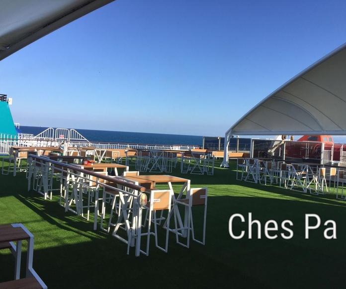 Instalación cubierta crucero con césped artificial en Valencia