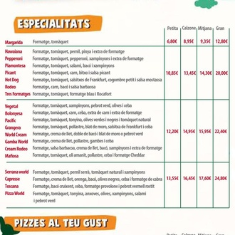 Carta Pizzes