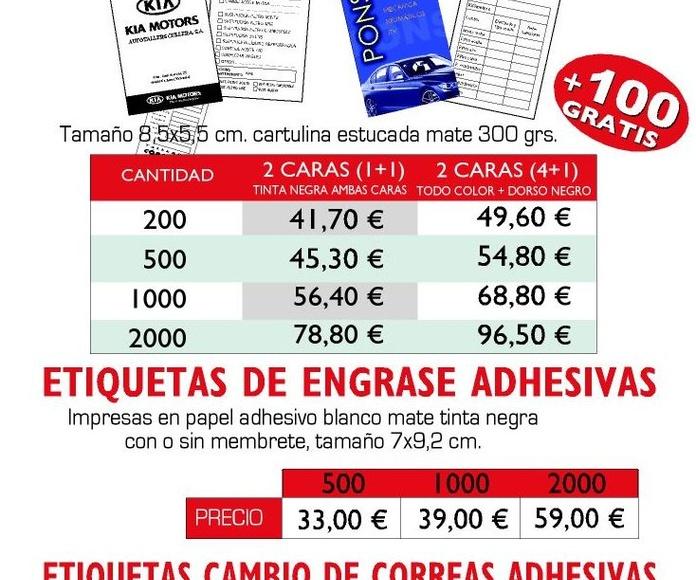 Etiquetas Cambio de Aceite: Productos y Servicios de Imprenta Llorens