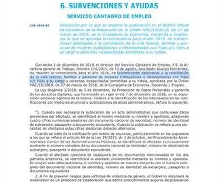 Boletín oficial de Cantabria. Ayudas y subvenciones