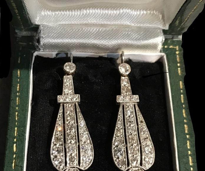Pendientes de novia platino y diamantes Art Déco años 20