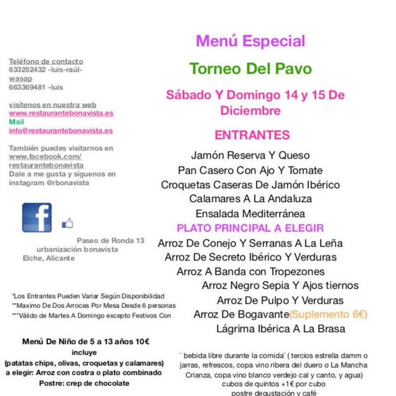 Menú fin de semana : Carta y Menús de Restaurante Bonavista