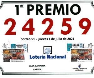 CASA CARMINA reparte el primer premio de la lotería nacional de los Jueves el pasado 1 de Julio del 2021.